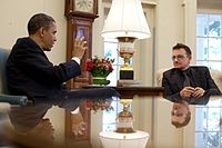 Bono meeting with US President Barack Obama in 2010