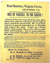 """An 1861 Confederate recruiting poster from Virginia, urging men to join the Confederate cause and fight off the U.S. Army, which it refers to as the """"Abolition foes""""."""