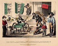 The First of May 1865 or Genl. Moving Day in Richmond Va, political cartoon, Kimmel & Forster, New York, 1865. The image depicts Confederate leaders packing up their belongings as they prepare to flee Richmond to avoid U.S. forces, with a slave watching on contemptuously.