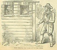 """""""How Virginia Was Voted Out Of The Union"""" -appeared in the northern journal Harpers Weekly, June 15, 1861"""