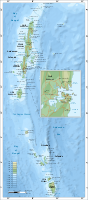 Map of Andaman and Nicobar Islands with an extra detailed area around Port Blair.