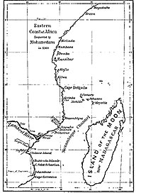 Principal cities of East Africa, c. 1500. The Kilwa Sultanate held sway from Cape Correntes in the south to Malindi in the north.