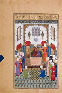Courtiers of the Persian prince Baysunghur playing chess in Ferdowsi's epic work known as the Shahnameh.