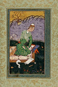 Mir Sayyid Ali, portrait of a young Indian Muslim scholar, writing a commentary on the Quran, during the reign of the Mughal Emperor Shah Jahan.