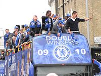 Chelsea parade through the streets of Fulham and Chelsea after winning their league and cup double, May 2010