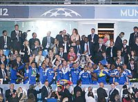 Chelsea players celebrate their first UEFA Champions League title against Bayern Munich (2012).