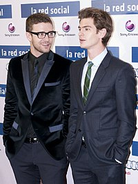 Timberlake (left) with Andrew Garfield (right) at an event for The Social Network in Madrid, October 2010