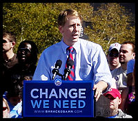 Cordray campaigning for Barack Obama on October 13, 2008 in Columbus, Ohio