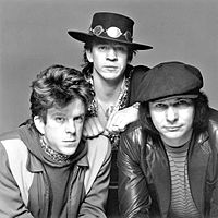 Double Trouble in 1983. From left to right: Chris Layton, Vaughan and Tommy Shannon.