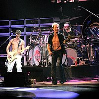 Roth and the Van Halen brothers performing in San Antonio, Texas in 2008.