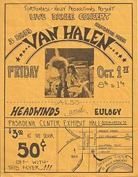 Flyer handed out at La Cañada High School show. Ed playing an Ibanez Destroyer.