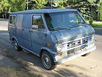 A second-generation Ford Econoline van. Bonin drove an olive-green model of this van when committing his abductions