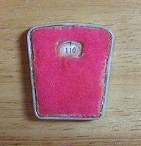 <center>Bathroom scale from 1965, permanently set at 110 lbs.</center>