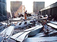A piece of fuselage on the roof of 5{{nbs}}World Trade Center
