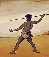 Painting of a Tasmanian Aboriginal throwing a spear, 1838