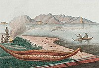 1807 engraving by French explorer Charles Alexandre Lesueur shows seafaring Aboriginal people and a large canoe on the eastern shore of Schouten Island