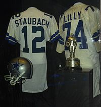 Roger Staubach and Bob Lilly jerseys shown at the Pro Football Hall of Fame in Canton, Ohio