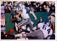 The Cowboys playing against the Dolphins in Super Bowl VI.