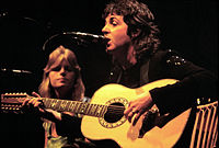 McCartney performing with wife Linda in 1976