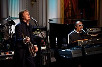 "Paul McCartney and Stevie Wonder perform ""Ebony and Ivory"" at a concert at the White House in 2010."