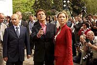 Vladimir Putin, McCartney and his wife Heather Mills in Moscow, Russia, 2003