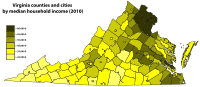 Virginia counties and cities by median household income (2010)