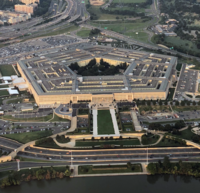 The Department of Defense is headquartered in Arlington at the Pentagon, the world's largest office building.