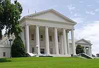 The Virginia State Capitol, designed by Thomas Jefferson and Charles-Louis Clérisseau, is home to the Virginia General Assembly.