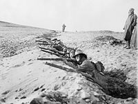 Members of the 1st Battalion undertaking rifle practice in Egypt during March 1915