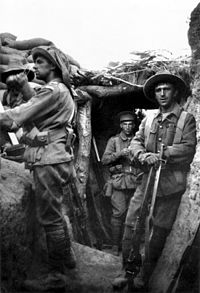 Members of the 7th Battalion in a trench at Lone Pine, 6 August 1915