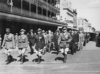 Returned servicemen marching in the 1937 Anzac Day commemorations in Brisbane