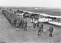 Members of No. 1 Squadron and their fighter aircraft in February 1918