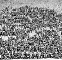 Soldiers from the 11th Battalion posing on the Great Pyramid of Giza, 1915.