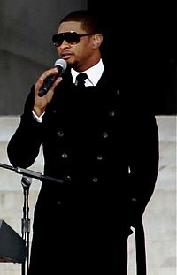 Usher performing at the We Are One: The Obama Inaugural Celebration at the Lincoln Memorial in 2009