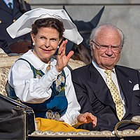 The current King of Sweden, Carl XVI Gustaf, and his consort, Queen Silvia