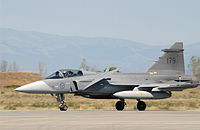 The Saab JAS 39 Gripen is an advanced Swedish multi-role fighter aircraft of the Swedish Air Force.