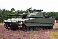 The Infantry fighting vehicle CV90, which is produced and used by Sweden