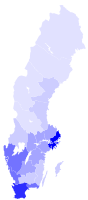 Population density in the counties of Sweden. people/km²