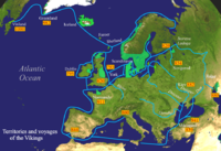 Viking expeditions (blue lines)