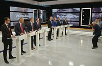 The party leaders lined up before the start of the televised live debate on 12 September 2014.