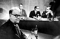 Tage Erlander (left), Prime Minister under the ruling Swedish Social Democratic Party from 1946 to 1969.