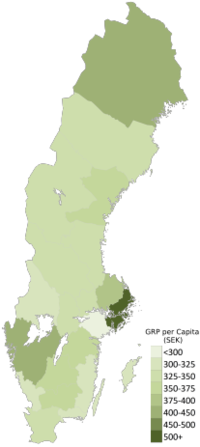 Gross Regional Product (GRP) per capita in thousands of kronor (2014)