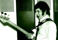 Entwistle backstage before a gig at Friedrich-Ebert-Halle in Ludwigshafen, Germany on 12 April 1967
