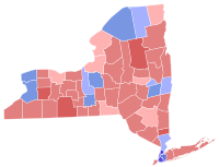 Results of the 2000 United States Senate election in New York. Clinton won the counties in blue.
