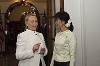 Clinton with Nobel Peace Prize laureate Aung San Suu Kyi during her December 2011 visit to Myanmar