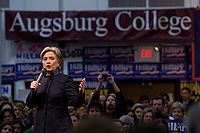 Clinton campaigning at Augsburg College in Minneapolis, Minnesota, two days before Super Tuesday, 2008