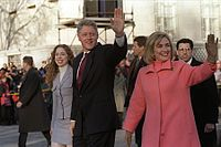 Inauguration Day walk down Pennsylvania Avenue to start Bill's second term as president, January 20, 1997