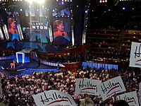 Clinton speaks on behalf of her former rival, Barack Obama, during the second night of the 2008 Democratic National Convention