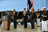 Obama and Clinton honor the Benghazi attack victims at the Transfer of Remains Ceremony, held at Andrews Air Force Base on September 14, 2012