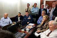 Clinton, along with members of the national security team, receive an update on Operation Neptune Spear in the White House Situation Room on May 1, 2011. Everyone in the room is watching a live feed from drones operating over the Osama bin Laden complex.